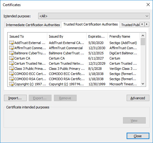 ssl certificates in internet explorer