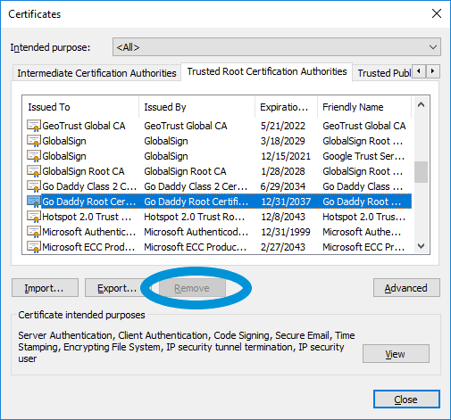 removing ssl certificates in internet explorer