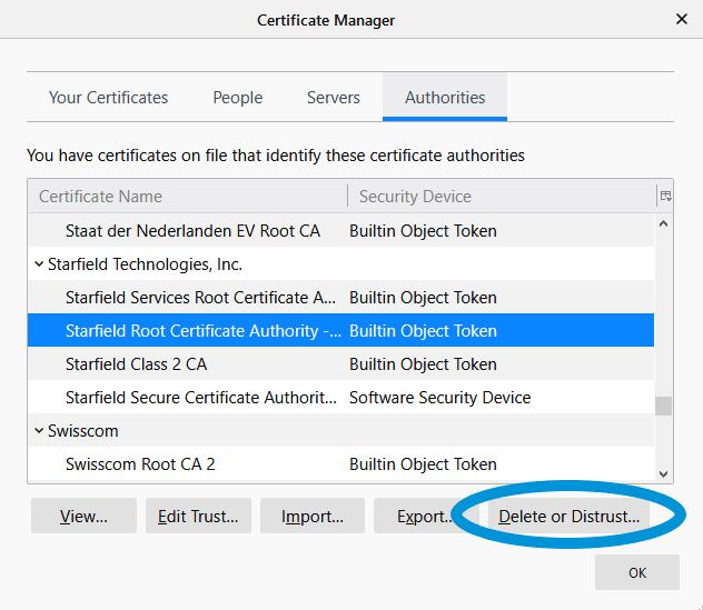 deleting ssl certificates in firefox